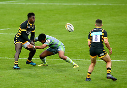 Christian Wade of Wasps passes the ball - Mandatory by-line: Robbie Stephenson/JMP - 29/07/2017 - RUGBY - Franklin's Gardens - Northampton, England - Wasps v Newcastle Falcons - Singha Premiership Rugby 7s