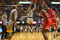 Feb 26, 2018; Morgantown, WV, USA; West Virginia Mountaineers guard James Bolden (3) shoots a three pointer during the second half against the Texas Tech Red Raiders at WVU Coliseum. Mandatory Credit: Ben Queen-USA TODAY Sports