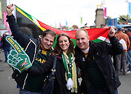 South African fans prior to kick off during the Rugby World Cup Quarter Final match between South Africa and Wales at Twickenham, Richmond, United Kingdom on 17 October 2015. Photo by Matthew Redman.