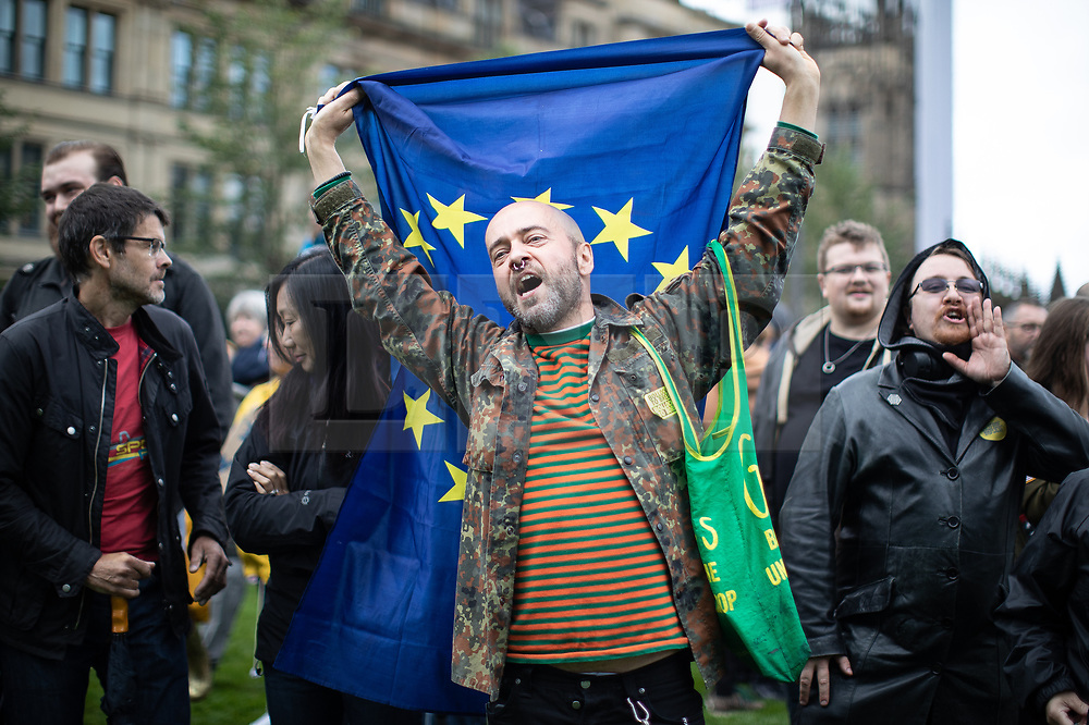 © Licensed to London News Pictures. 31/08/2019. Manchester, UK. Thousands attend a pro EU demo in Cathedral Gardens in Manchester City Centre , with objections raised to the Prime Minister Boris Johnson's intention to prorogue Parliament in the run up to Britain's planned Brexit deadline . Photo credit: Joel Goodman/LNP