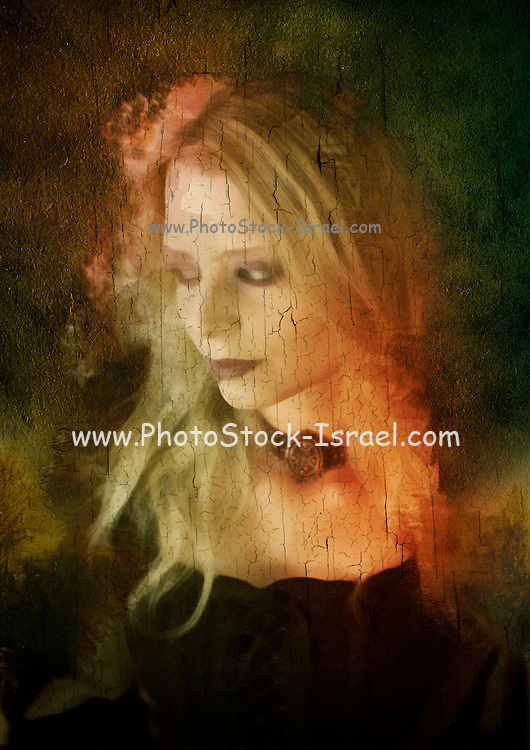 Computer generated Old portrait painting of a woman wearing Gothic style clothes