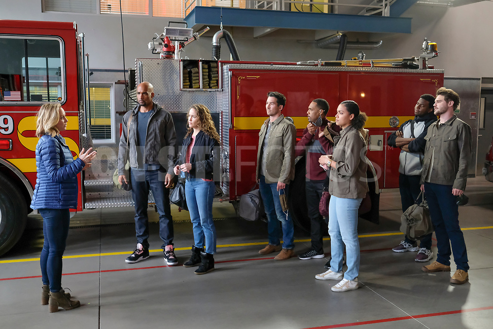 """STATION 19 - """"Get Up, Stand Up"""" – In the wake of national outcry after the tragic murder of an unarmed Black man, Maya brings in Dr. Diane Lewis to grief counsel the team on a new episode of """"Station 19,"""" THURSDAY, APRIL 22 (8:00-9:00 p.m. EDT), on ABC. (ABC/Ron Batzdorff)<br /> BORIS KODJOE, JAINA LEE ORTIZ, JAY HAYDEN, JASON GEORGE, BARRETT DOSS, OKIERIETE ONAODOWAN, GREY DAMON"""