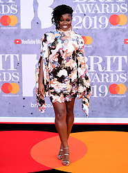 Clara Amfo attending the Brit Awards 2019 at the O2 Arena, London.