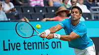 Tennis - 2019 Queen's Club Fever-Tree Championships - Day One, Monday<br /> <br /> Men's Singles, First Round: Fernando VERDASCO (ESP) vs Daniil MEDVEDEV (RUS) [4<br /> <br /> Fernando Verdasco (ESP) stretches to make the return shot on Centre Court.<br />  <br /> COLORSPORT/DANIEL BEARHAM