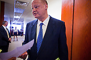 09 MAY 2011 - PHOENIX, AZ: TOM HORNE, Arizona Attorney General, reads a document after a press conference at the Arizona State Capitol in Phoenix Monday. Governor Jan Brewer, State Senate President Russell Pearce and Attorney General Tom Horne, all Republicans, held one press conference to announce that the state was suing to take its legal battle over SB1070, Arizona's tough anti-immigration law, past the US Court of Appeals and straight to the US Supreme Court. State Senator Steve Gallardo, a Democrat, held a press conference to announce that he was opposed to the Republican's legal actions and called on them to drop the suit altogether. Isolated shouting matches broke out between activists on both sides of the immigration issue during the press conferences.       Photo by Jack Kurtz