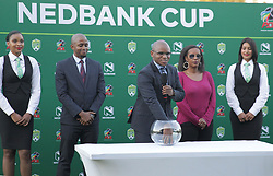 22042018 (Durban) PSL Lux September makes a Nedbank Final cup drwa when Maritzburg United FC make their way to the final of the Nedbank Cup after walloping 3-1 when playing against Mamelodi Sundowns FC at the Harry Gwala Stadium in Pietermaritzburg; KZN yesterday.<br /> Picture: Motshwari Mofokeng/ANA