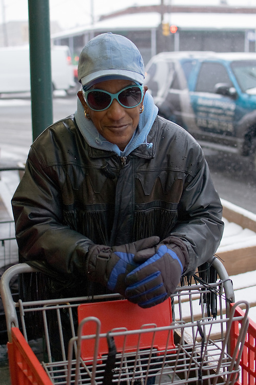 Weather's never a reason not to have style, as seen by this gent in the Italian Market in Philadelphia on a cold, snowy day.