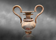 Elaborate Minoan amphora  of veined stone with double mouth and s shaped handles, Zakros Central Sanctuary  1500-1400 BC; Heraklion Archaeological  Museum, grey background. .<br /> <br /> If you prefer to buy from our ALAMY PHOTO LIBRARY  Collection visit : https://www.alamy.com/portfolio/paul-williams-funkystock/minoan-art-artefacts.html . Type -   Heraklion   - into the LOWER SEARCH WITHIN GALLERY box. Refine search by adding background colour, place, museum etc<br /> <br /> Visit our MINOAN ART PHOTO COLLECTIONS for more photos to download  as wall art prints https://funkystock.photoshelter.com/gallery-collection/Ancient-Minoans-Art-Artefacts-Antiquities-Historic-Places-Pictures-Images-of/C0000ricT2SU_M9w