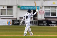 100 - Liam Dawson acknowledges his team mates on reaching 100 during Day 2 of the LV= Insurance County Championship match between Leicestershire County Cricket Club and Hampshire County Cricket Club at the Uptonsteel County Ground, Leicester, United Kingdom on 9 April 2021.
