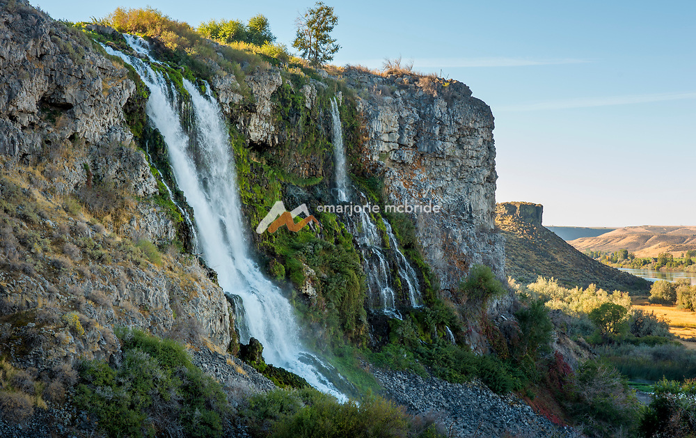 Thousand Springs falls cascading in the canyon. Hagerman, Idaho.