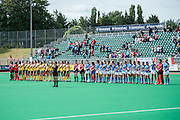 South Africa and Italy line up for the national anthems ahead of their match in the Investec Hockey World League Semi Final 2013, the Quintin Hogg Memorial Sports Ground, University of Westminster, London, UK on 27 June 2013. Photo: Simon Parker