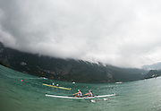 Aiguebelette, FRANCE, GBR TA2X Laurence WHITELEY and Lauren ROWLES, win their repechage,under heavy low cloud at the 2015 FISA World Rowing Championships, <br /> Venue, Lake Aiguebelette - Savoie. <br /> Tuesday 01.09.2015  [Mandatory Credit. Peter SPURRIER/Intersport Images]. © Peter SPURRIER, Atmospheric, Rowing
