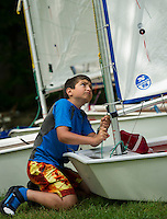 Lake Winnipesaukee Sailing Assocation's annual youth regatta from WYC Thursday, July 26, 2013.  Karen Bobotas/for the Laconia Daily Sun
