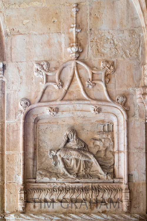 Stone sculpture of Madonna and Christ in famous Monastery of Jeronimos - Mosteiro  dos Jeronimos in Lisbon, Portugal