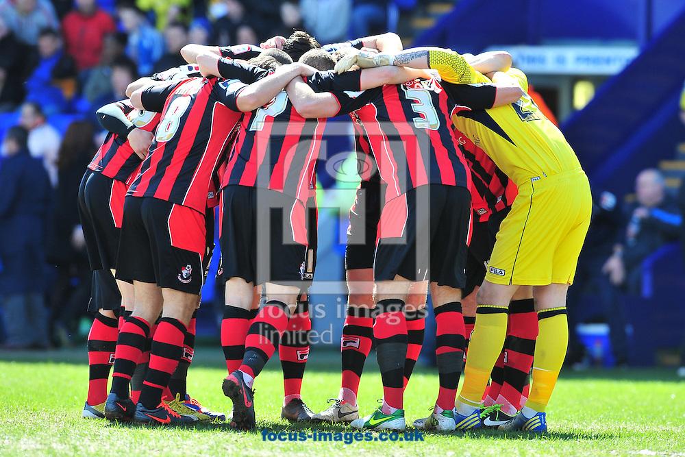 Picture by Ste Jones/Focus Images Ltd +44 7706 592282.27/04/2013.Bournemouth players during the npower League 1 match at Prenton Park, Birkenhead.