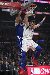 December 20, 2018 - Los Angeles, California, U.S - Danilo Gallinari #8 of the Los Angeles Clippers dunks the ball over Luka Doncic #77 the Dallas Mavericks during their NBA game on Thursday December 20, 2018 at the Staples Center in Los Angeles, California. Clippers vs Mavericks. (Credit Image: © Prensa Internacional via ZUMA Wire)