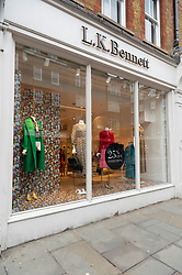© Licensed to London News Pictures. 01/03/2019. London, UK. An LK Bennett store in Marylebone High Street. The high end fashion retailer is reported to file for administration with 200 shops globally, including 41 in the UK and 480 staff at risk. Photo credit: Ray Tang/LNP