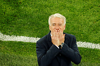 SAINT PETERSBURG, RUSSIA - JULY 10: France national team head coach Didier Deschamps celebrates victory during the 2018 FIFA World Cup Russia Semi Final match between France and Belgium at Saint Petersburg Stadium on July 10, 2018 in Saint Petersburg, Russia. MB Media