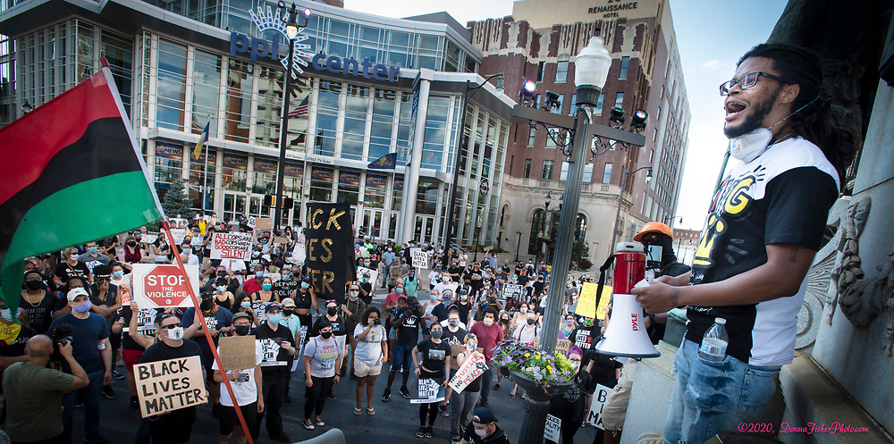 Black Lives Matter rally in Allentown, Pa. on Monday, July 13, 2020. Marchers rallied at 7th and Hamilton and marched to the Lehigh County Prison.<br /> - Photography by Donna Fisher<br /> - ©2020 - Donna Fisher Photography, LLC                     <br /> - donnafisherphoto.com