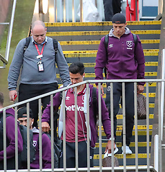 Javier Hernandez  and The West Ham team arrive at Piccadilly Train Station in Manchester ahead of their match against Burnley