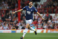 Andreas Bouhalakis of Nottingham Forest celebrates after scoring his team's third goal. EFL Skybet football league championship match, Brentford  v Nottingham Forest at Griffin Park in London on Saturday 12th August 2017.<br /> pic by Steffan Bowen, Andrew Orchard sports photography.