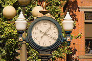 Old fashioned street clock in Pioneer Square, Seattle, Washington