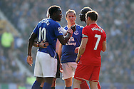 Romelu Lukaku of Everton and Mamadou Sakho of Liverpool have a disagreement. Barclays Premier League match, Everton v Liverpool at Goodison Park in Liverpool on Sunday 4th October 2015.<br /> pic by Chris Stading, Andrew Orchard sports photography.