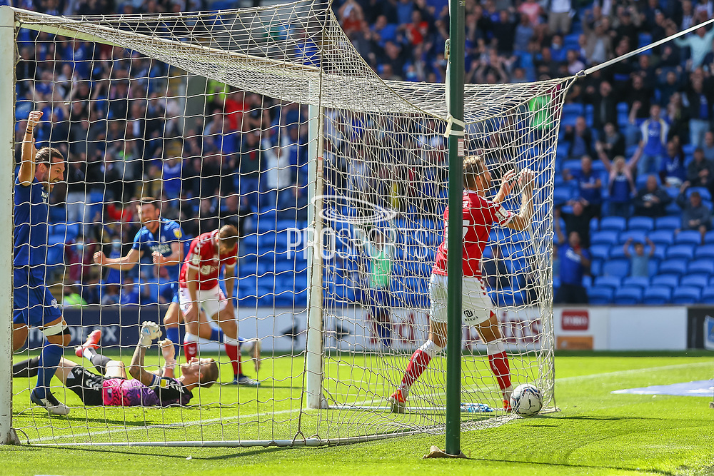 GOAL 1-1 An own goal for Bristol City caused by Cardiff City forward Kieffer More (10) during the EFL Sky Bet Championship match between Cardiff City and Bristol City at the Cardiff City Stadium, Cardiff, Wales on 28 August 2021.