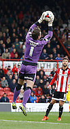 Rotherham United goalkeeper Lee Camp takes an easy catch during the Sky Bet Championship match between Brentford and Rotherham United at Griffin Park, London, England on 17 October 2015. Photo by Andy Walter.