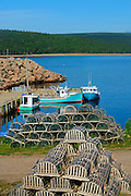 Loster traps and boat <br /> Neils Harbour<br /> Nova Scotia<br /> Canada