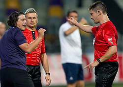 Zlatko Zahovic of NK Maribor and referee Matej Jug during football match between NK Maribor and NK Domzale of Slovenian SuperCup 2011, on July 8, 2011, in  Stadium Ljudski vrt, Maribor, Slovenia. Domzale defeated Maribor 2-1 and became SuperCup Champion. (Photo by Vid Ponikvar / Sportida)