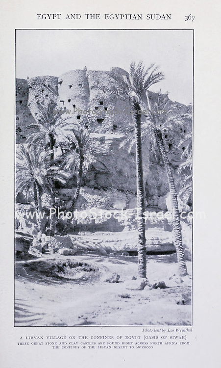 A Libyan village on the confines of Egypt (Oasis of Siwah) From the Book '  Britain across the seas : Africa : a history and description of the British Empire in Africa ' by Johnston, Harry Hamilton, Sir, 1858-1927 Published in 1910 in London by National Society's Depository