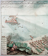 City of Vera Cruz, east central Mexico. First founded by Cortez 1519. Modern city dates from c1599 and was main link between Spain and Mexico. A. Fort of St Juan with ships at anchor. D. Custom house with train of pack mules. F. Horseman arriving on road from Mexico city. Detail from 17th century map.