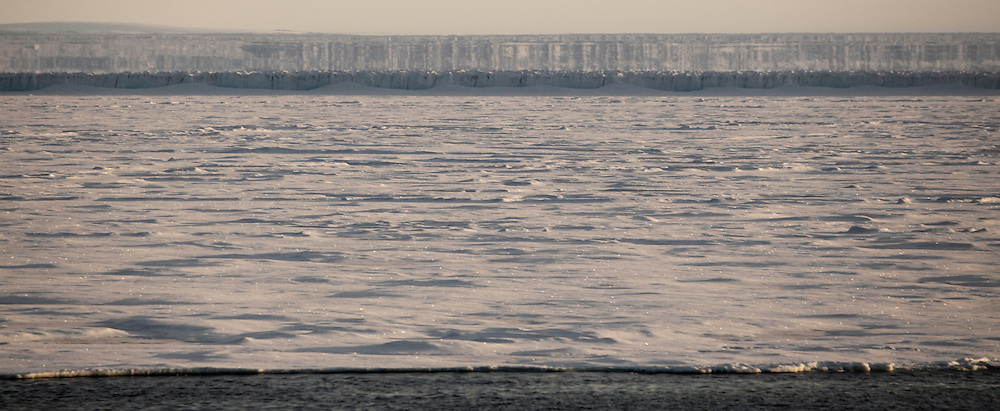 Fata Morgana, or superior mirage off the east coast of Arctic Greenland, near Nioghalvfjerdsfjorden, or 79 Glacier