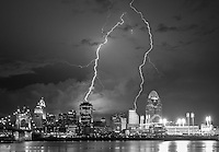 Black and White image of Cincinnati during a Lightning Storm