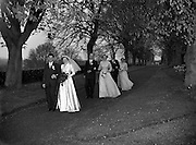 30/03/1957<br /> 03/30/1957<br /> 30 March 1957<br /> Wedding of Lee - Hill at Finglas Parish Church (Church of Ireland) and the Spa Hotel, Lucan, Dublin. Wedding party on lane to church.