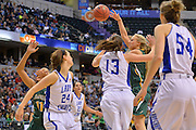 April 4, 2016; Indianapolis, Ind.; Alysha Devine tries to pass the ball to Megan Mullings in the NCAA Division II Women's Basketball National Championship game at Bankers Life Fieldhouse between UAA and Lubbock Christian. The Seawolves lost to the Lady Chaps 78-73.