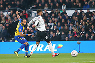 Southampton midfielder Nathan Redmond (22) shoots and scores 1-0 during the The FA Cup 3rd round match between Derby County and Southampton at the Pride Park, Derby, England on 5 January 2019.