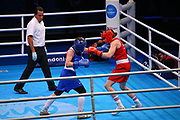 Rosie Eccles of Great Britain (right) and Saadat Dalgatova of Russia compete in the Women's Welterweight Preliminaries during The Road to Tokyo European Olympic Boxing Qualification, Sunday, March 15, 2020, in London, United Kingdom. (Mitchell Gunn-ESPA-Images/Image of Sport)
