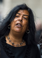 © Licensed to London News Pictures. 10/06/2015. London, UK. SUSAN ALEXANDER, mother of Azelle Rodney arriving at the old bailey in London where former Met specialist firearms officer Anthony Long is due to stand trial accused of murdering Azelle Rodney in April 2005. Rodney died after officers stopped the car he was travelling in with two other men in Edgware, north London. Photo credit: Ben Cawthra/LNP