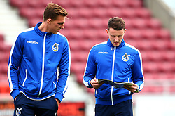 Ollie Clarke of Bristol Rovers and Joe Partington of Bristol Rovers read the match day programme at Northampton Town - Mandatory by-line: Robbie Stephenson/JMP - 07/10/2017 - FOOTBALL - Sixfields Stadium - Northampton, England - Northampton Town v Bristol Rovers - Sky Bet League One