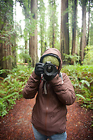 Young woman taking photos in  Redwood National Park, CA