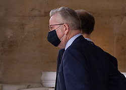 © Licensed to London News Pictures. 10/09/2020. London, UK. Cabinet Minister Michael Gove leaves Lancaster House in central London. Also seen leaving were European Chief Brexit negotiator Michel Barnier, European Commission Vice President Maros Sefcovic  and UK Chief Brexit negotiator Lord Frost. A second day of negotiations between the UK Government and the EU has now started at the Business Department in Victoria Street. Photo credit: Peter Macdiarmid/LNP