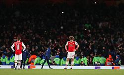 David Luiz of Arsenal looks dejected - Mandatory by-line: Arron Gent/JMP - 27/02/2020 - FOOTBALL - Emirates Stadium - London, England - Arsenal v Olympiacos - UEFA Europa League Round of 32 second leg