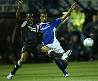 Photo: Aidan Ellis.<br /> Chesterfield United v Manchester City. Carling Cup. 20/09/2006.<br /> City's Sylvan Distin clears from Chesterfield's Caleb Folan