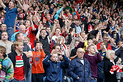 Middlesbrough fans celebrate after Grant Leadbitter scores a Penalty to win the match 1-2 - Photo mandatory by-line: Rogan Thomson/JMP - 07966 386802 - 13/09/2014 - SPORT - FOOTBALL - Huddersfield, England - The John Smith's Stadium - Huddersfield town v Middlesbrough - Sky Bet Championship.