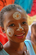 Africa, Madagascar, Portrait of young girl with painted face