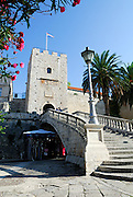 Revelin Tower and the land gate (Kopnena Vrata) entrance into the old town of Korcula. Korcula old town, island of Korcula, Croatia.