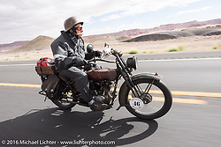 Jeff Erdman of Wisconsin riding his 1916 Harley-Davidson in the Motorcycle Cannonball Race of the Century. Stage-12 ride from Page, AZ to Williams, AZ. USA. Thursday September 22, 2016. Photography ©2016 Michael Lichter.
