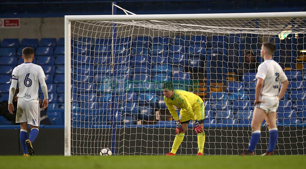 Birmingham City's goalkeeper Adam Siviter dejected after conceding the third goal of the game
